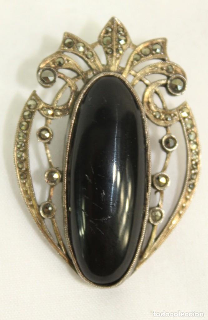 Joyeria: Broche de solapa fines s XIX en plata y marcasitas. Azabache - Foto 2 - 139049466