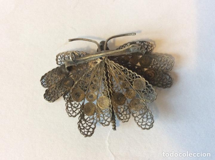 Joyeria: Antiguo broche en filigrana de plata con forma de mariposa - Foto 2 - 143342044