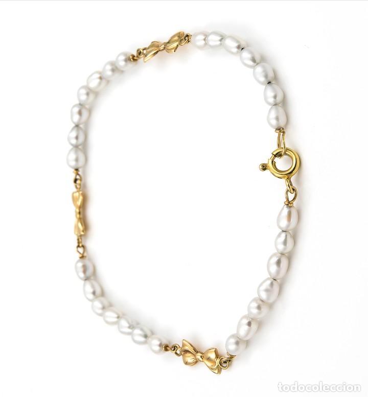 Joyeria: Pulsera Oro y Perlas Cultivadas con Lazos - Foto 5 - 139443850