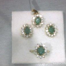 Joyeria - juego de pendientes,anillo y colgante oro 18kl y esmeraldas - 139522046