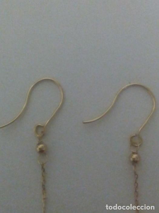 Joyeria: pendientes de oro amarillo 18 k.adornado por dos turquesas naturales talla corazon,exelente estado c - Foto 5 - 139809378