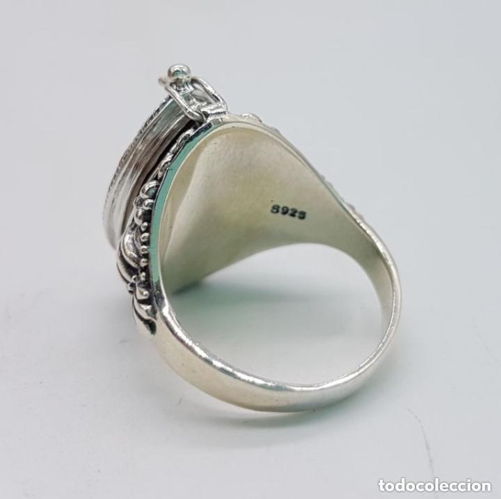 Joyeria: Impresionante anillo en plata de ley contrastada estilo rococó con cofre secreto y granate incrustad - Foto 6 - 144163208
