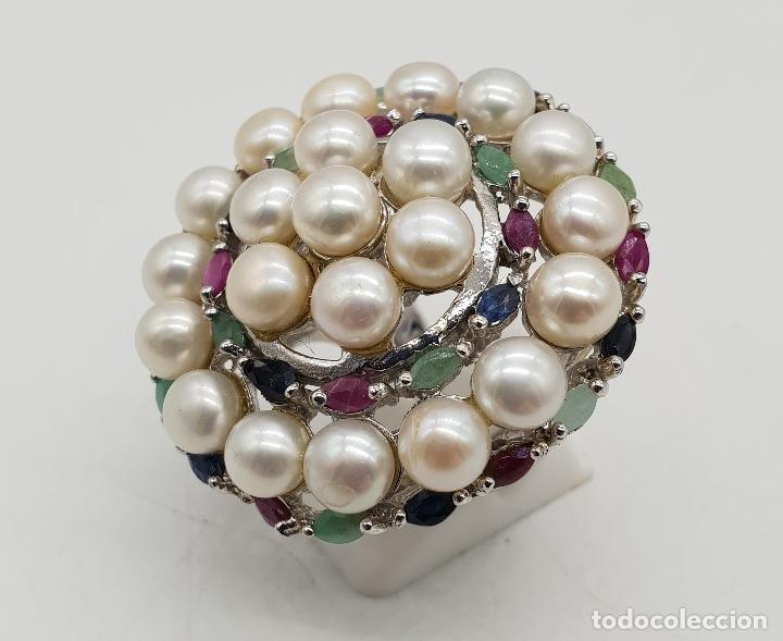 Joyeria: Espectacular anillo antiguo en plata de ley, perlas, esmeraldas, rubies y zafiros talla marqués . - Foto 2 - 140215658