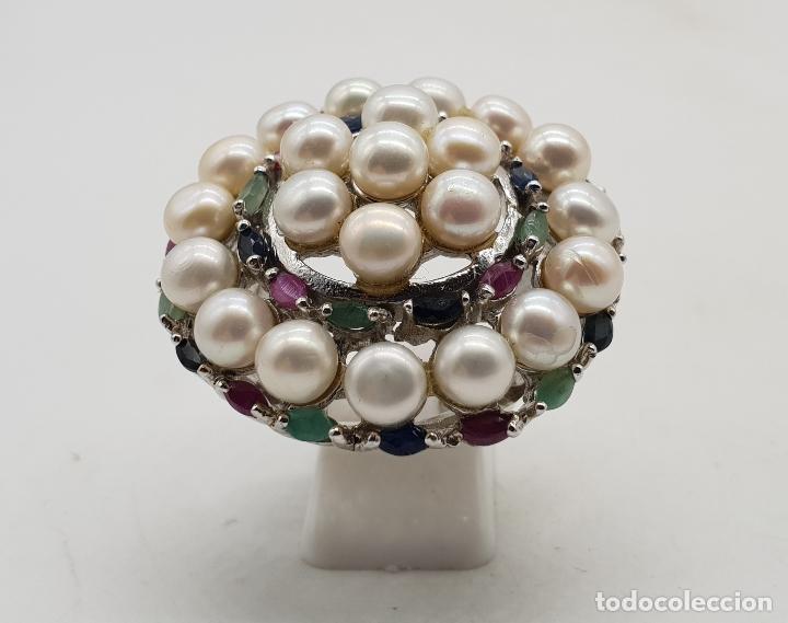Joyeria: Espectacular anillo antiguo en plata de ley, perlas, esmeraldas, rubies y zafiros talla marqués . - Foto 3 - 140215658