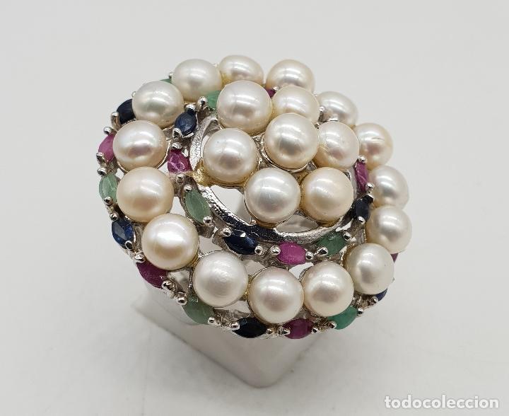 Joyeria: Espectacular anillo antiguo en plata de ley, perlas, esmeraldas, rubies y zafiros talla marqués . - Foto 4 - 140215658