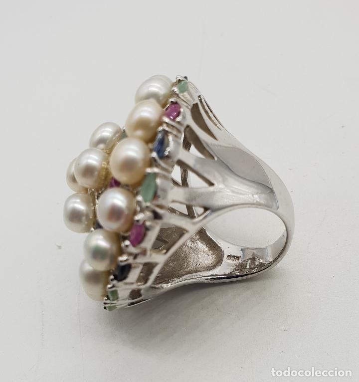 Joyeria: Espectacular anillo antiguo en plata de ley, perlas, esmeraldas, rubies y zafiros talla marqués . - Foto 5 - 140215658