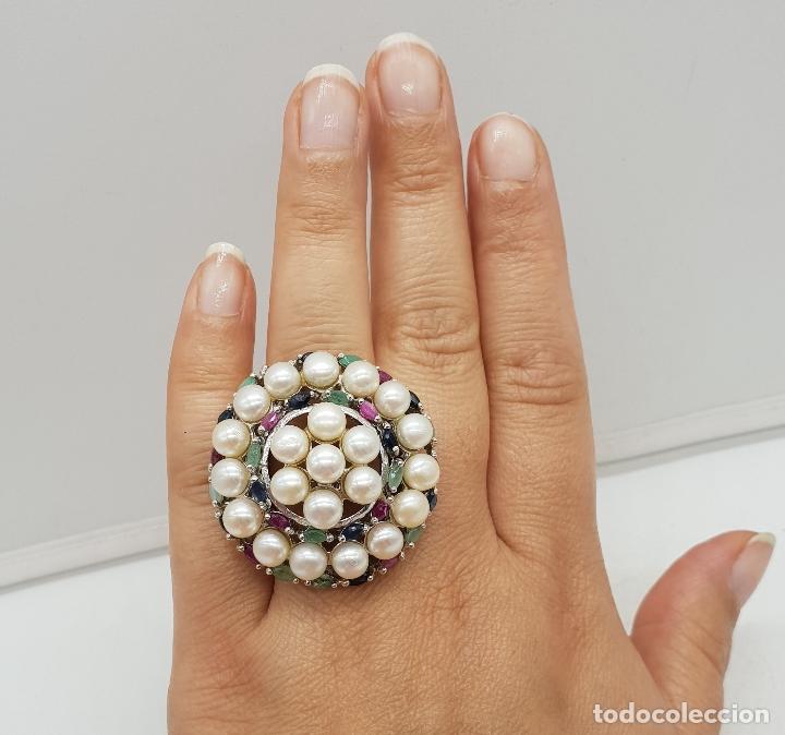 Joyeria: Espectacular anillo antiguo en plata de ley, perlas, esmeraldas, rubies y zafiros talla marqués . - Foto 9 - 140215658