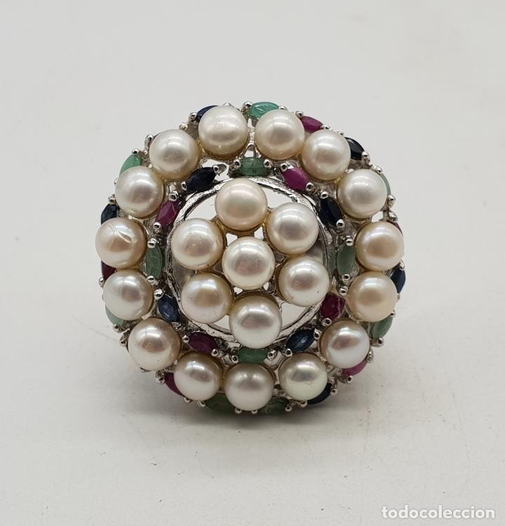 Joyeria: Espectacular anillo antiguo en plata de ley, perlas, esmeraldas, rubies y zafiros talla marqués . - Foto 6 - 140215658