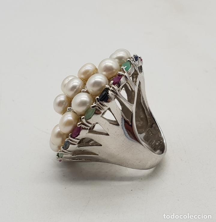 Joyeria: Espectacular anillo antiguo en plata de ley, perlas, esmeraldas, rubies y zafiros talla marqués . - Foto 7 - 140215658