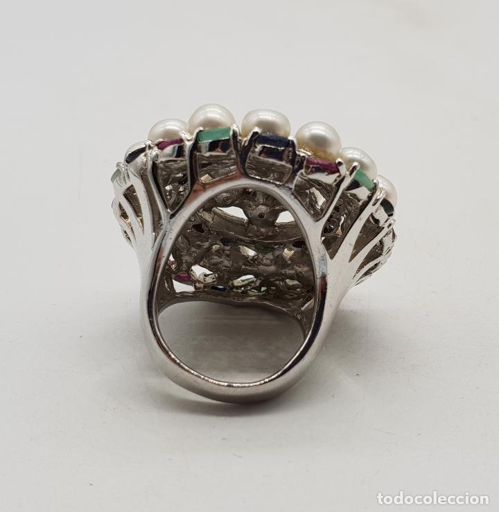 Joyeria: Espectacular anillo antiguo en plata de ley, perlas, esmeraldas, rubies y zafiros talla marqués . - Foto 8 - 140215658