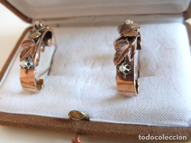 Joyeria: Pendientes antiguos Isabelinos 1850 en oro de 14k y perlas - Foto 3 - 109433075