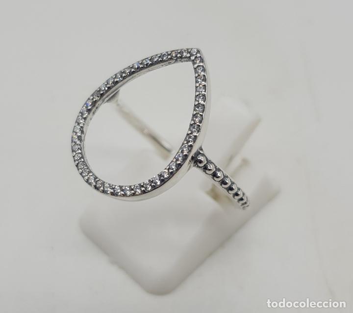 Joyeria: Elegante sortija con forma de gota en plata de ley contrastada y pavé de circonitas talla brillante - Foto 2 - 140401198