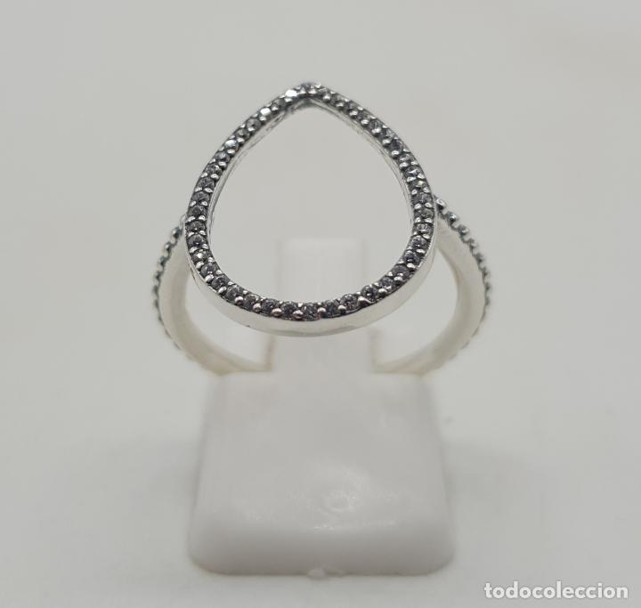 Joyeria: Elegante sortija con forma de gota en plata de ley contrastada y pavé de circonitas talla brillante - Foto 3 - 140401198
