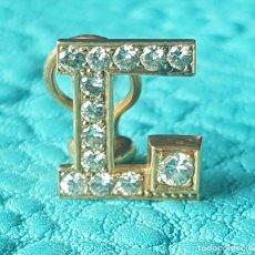 Joyeria - 1 pendiente de oro o pin con 13 diamantes letra L 2,8 gramos - 140573066
