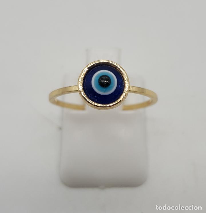 Joyeria: Sortija vintage con ojo turco o nazar ( amuleto ) de cristal de murano chapado en oro . - Foto 2 - 140580758