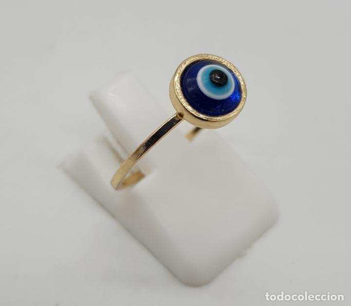 Joyeria: Sortija vintage con ojo turco o nazar ( amuleto ) de cristal de murano chapado en oro . - Foto 3 - 140580758