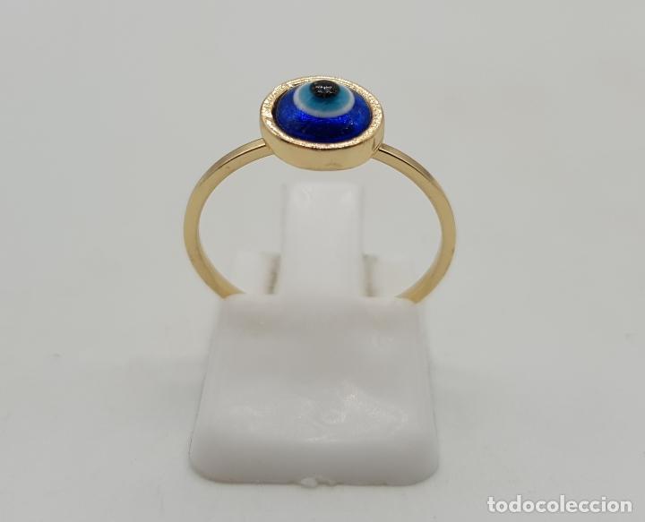 Joyeria: Sortija vintage con ojo turco o nazar ( amuleto ) de cristal de murano chapado en oro . - Foto 4 - 140580758