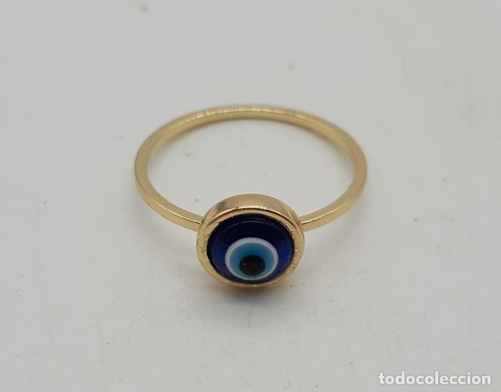 Joyeria: Sortija vintage con ojo turco o nazar ( amuleto ) de cristal de murano chapado en oro . - Foto 5 - 140580758