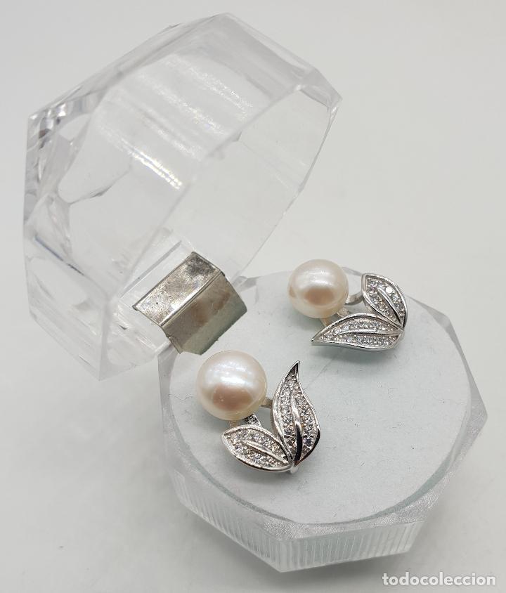 Joyeria: Elegantes pendientes de plata de ley con hojas de circonitas y perla de agua dulce . - Foto 4 - 140808010