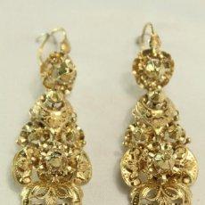Joyeria: PENDIENTES ARRACADAS S XIX ORO DE LEY Y 8 DIAMANTES TALLA ROSA.- GOLD EARINGS WITH DIAMONDS. Lote 140844918