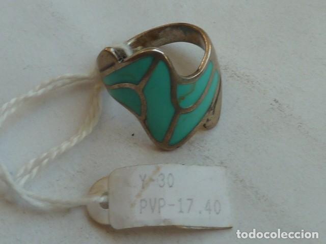 Joyeria: ANILLO VINTAGE de PLATA DE 925 mm con esmalte verde pastel, costaba 17,40 euros - Foto 2 - 140893918