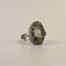 Jewelry - Antiguo anillo de plata y marcasitas con reloj Emka Suiza incorporado - Art Decó Ca.1930-40 - 151669037