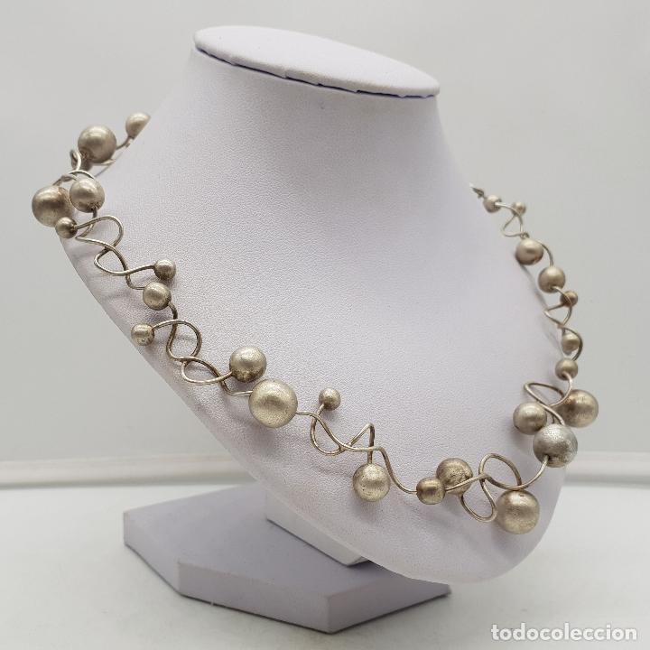 Joyeria: Gargantilla de diseño sofisticado en eslabones de plata de ley con forma de moleculas, pieza unica . - Foto 4 - 141077490