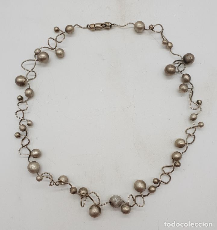 Joyeria: Gargantilla de diseño sofisticado en eslabones de plata de ley con forma de moleculas, pieza unica . - Foto 6 - 141077490