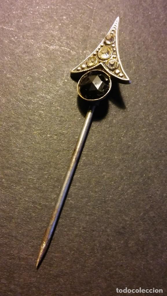 Joyeria: Aguja alfiler victoriano para corbata caballero cristal negro azabache y circonitas, antigua s XIX - Foto 4 - 132106010