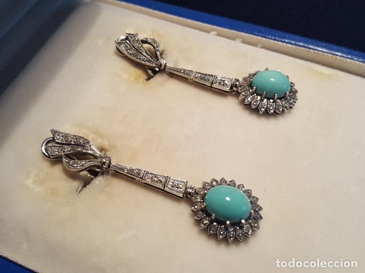 Joyeria: Pendientes largos vintage realizados en paladio, diamantes y turquesas. Circa 1950-1960 - Foto 3 - 142324226