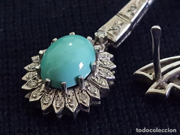 Joyeria: Pendientes largos vintage realizados en paladio, diamantes y turquesas. Circa 1950-1960 - Foto 4 - 142324226