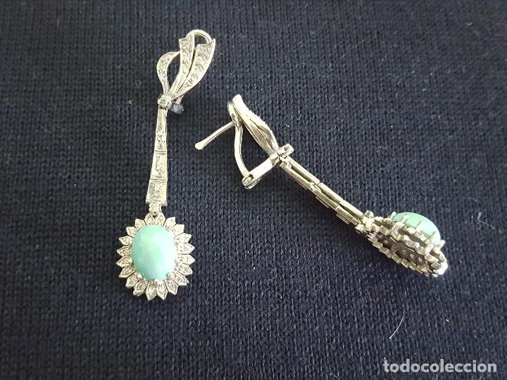 Joyeria: Pendientes largos vintage realizados en paladio, diamantes y turquesas. Circa 1950-1960 - Foto 5 - 142324226