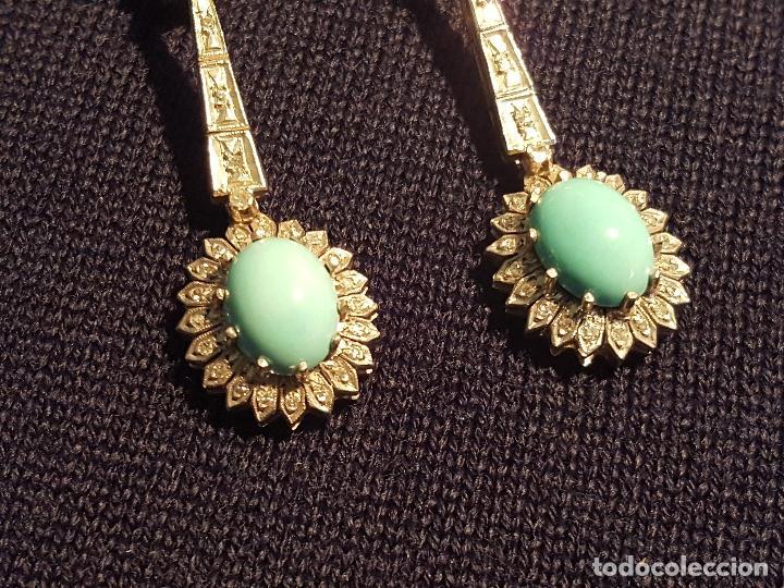Joyeria: Pendientes largos vintage realizados en paladio, diamantes y turquesas. Circa 1950-1960 - Foto 6 - 142324226
