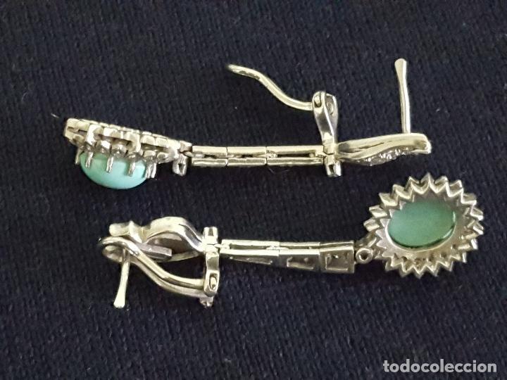 Joyeria: Pendientes largos vintage realizados en paladio, diamantes y turquesas. Circa 1950-1960 - Foto 7 - 142324226