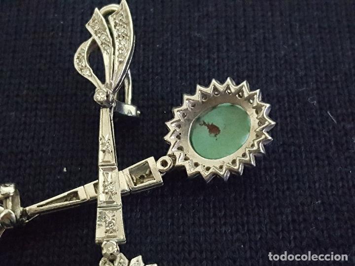 Joyeria: Pendientes largos vintage realizados en paladio, diamantes y turquesas. Circa 1950-1960 - Foto 8 - 142324226