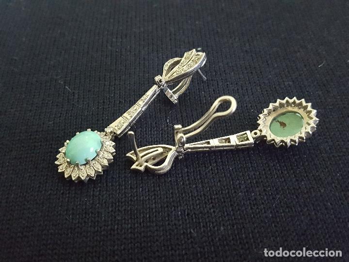 Joyeria: Pendientes largos vintage realizados en paladio, diamantes y turquesas. Circa 1950-1960 - Foto 9 - 142324226