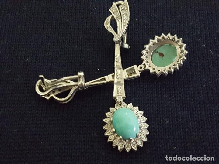 Joyeria: Pendientes largos vintage realizados en paladio, diamantes y turquesas. Circa 1950-1960 - Foto 10 - 142324226