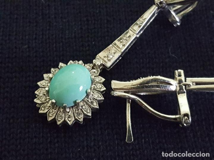 Joyeria: Pendientes largos vintage realizados en paladio, diamantes y turquesas. Circa 1950-1960 - Foto 12 - 142324226