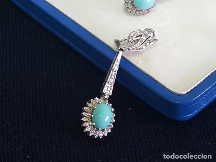 Joyeria: Pendientes largos vintage realizados en paladio, diamantes y turquesas. Circa 1950-1960 - Foto 13 - 142324226