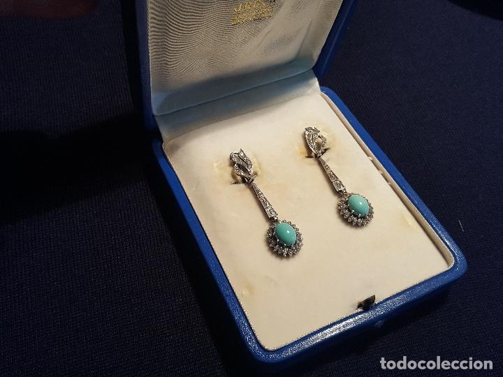 Joyeria: Pendientes largos vintage realizados en paladio, diamantes y turquesas. Circa 1950-1960 - Foto 14 - 142324226
