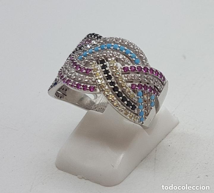 Joyeria: Maravilloso anillo en plata de ley contrastada y pave de piedras semipreciosas talla brillante . - Foto 2 - 142474054