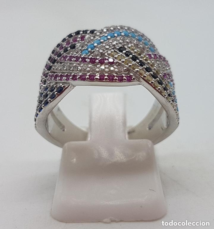 Joyeria: Maravilloso anillo en plata de ley contrastada y pave de piedras semipreciosas talla brillante . - Foto 3 - 142474054