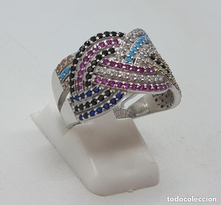 Joyeria: Maravilloso anillo en plata de ley contrastada y pave de piedras semipreciosas talla brillante . - Foto 4 - 142474054