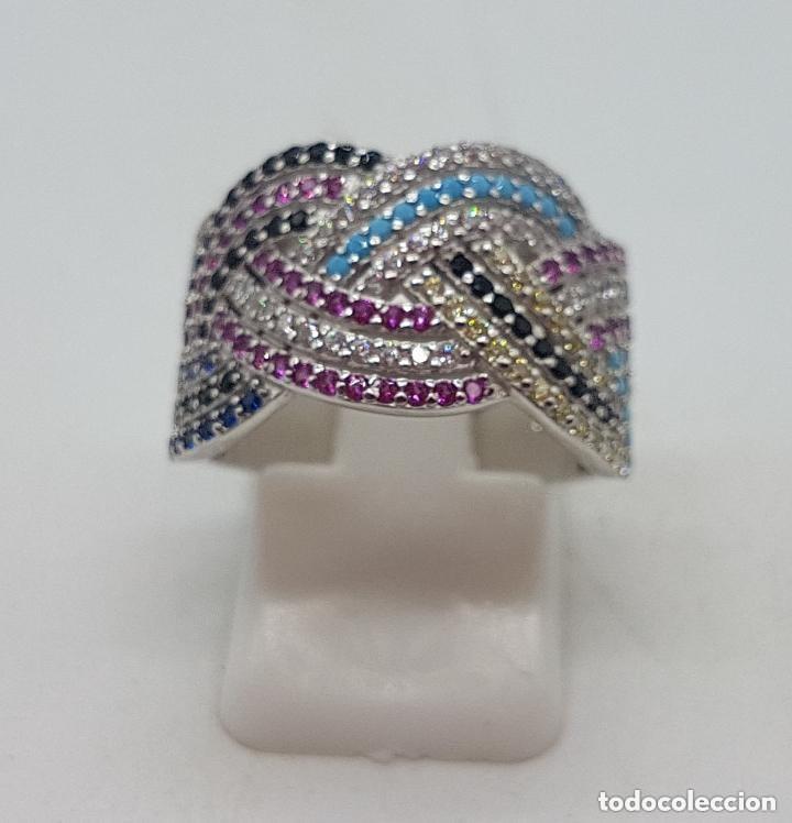 Joyeria: Maravilloso anillo en plata de ley contrastada y pave de piedras semipreciosas talla brillante . - Foto 5 - 142474054