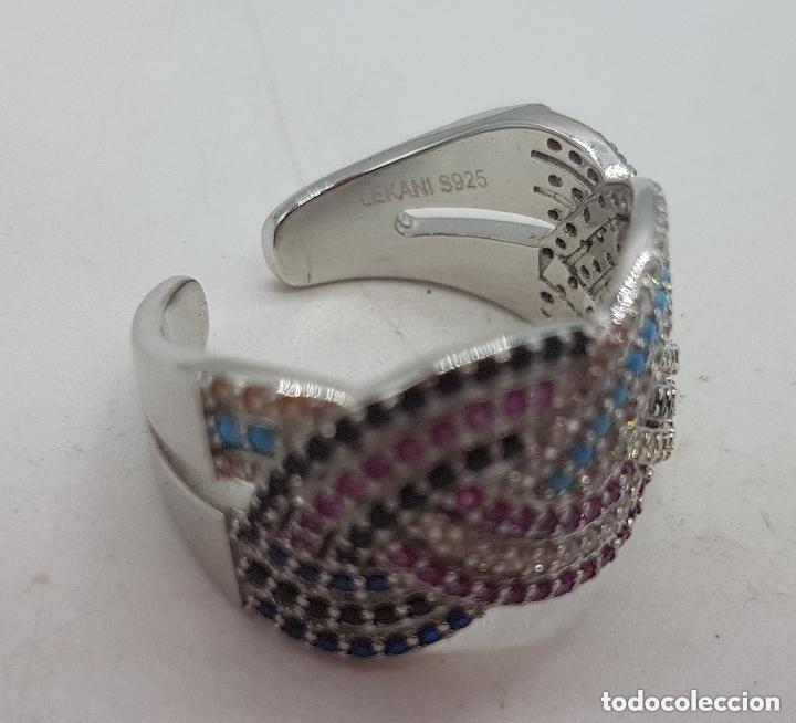 Joyeria: Maravilloso anillo en plata de ley contrastada y pave de piedras semipreciosas talla brillante . - Foto 6 - 142474054