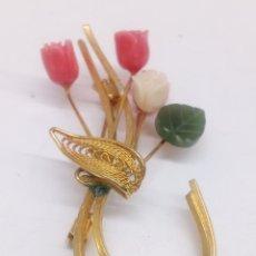 Joyeria - Broche bisutería con piedras naturales talladas - 142516120