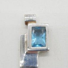 Schmuck - Colgante vintage de diseño minimalista en plata de ley con aguamarina talla radiant incrustada . - 142532578