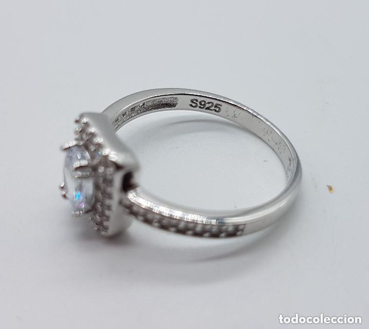 Joyeria: Sortija de pedida de mano en plata de ley con pavé de circonitas talla brillante y circon talla oval - Foto 6 - 142697502