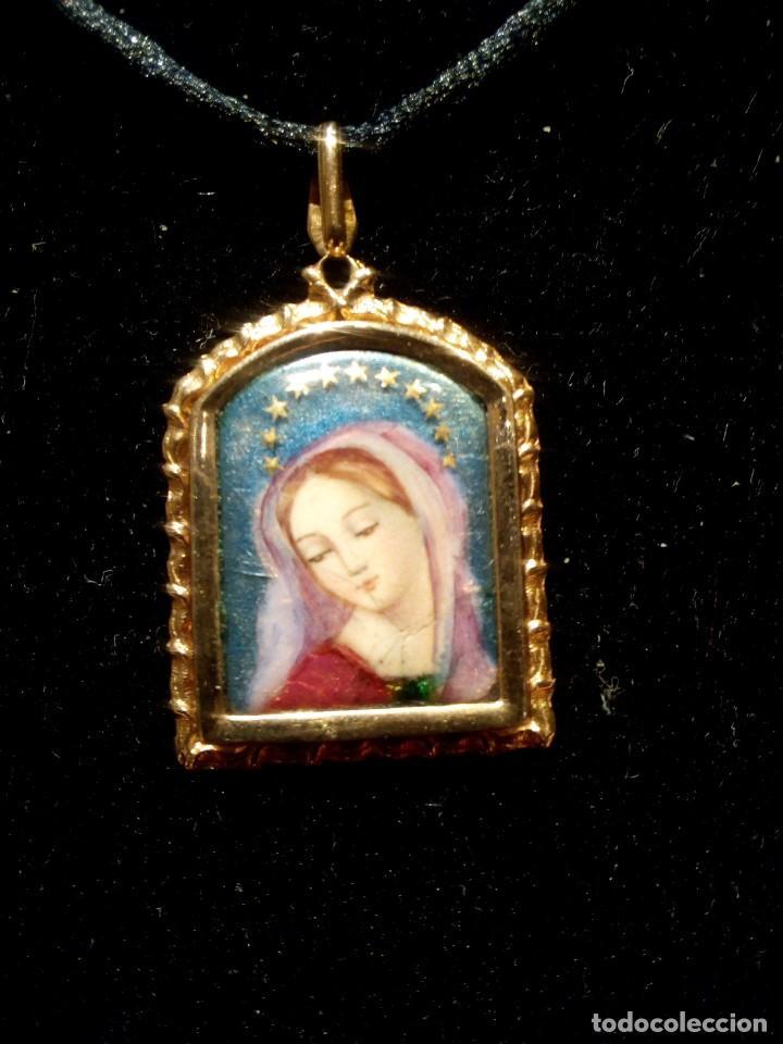 9433f859d075 4 fotos MEDALLA ESMALTE DE LA VIRGEN EN ORO MACIZO DE 18K (Joyería -  Colgantes Antiguos) ...