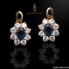 Jewelry - Preciosos pendientes de oro tipo roseta zafiros fino - 142961542